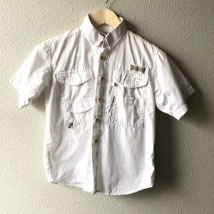 Columbia White Fishing Short Sleeve Button Down
